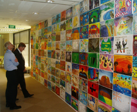 Student artwork decorates the halls at the Office of Commonwealth Games coordination.